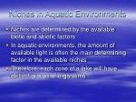 niches in aquatic environments
