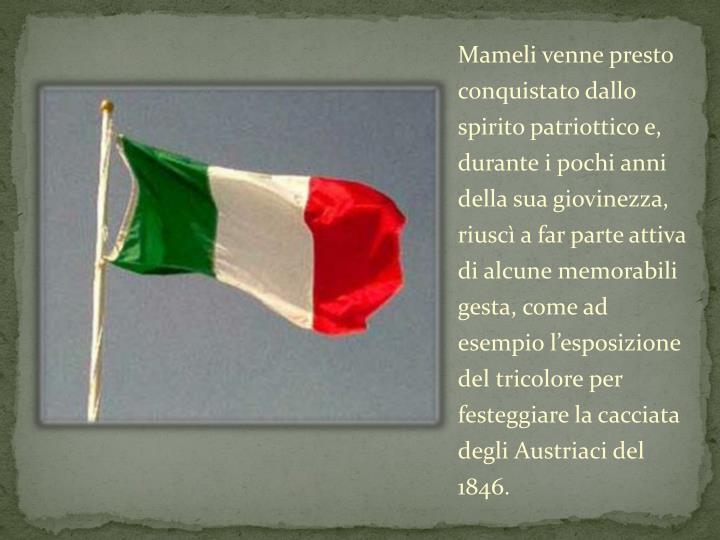 Mameli venne presto conquistato dallo spirito patriottico e, durante i pochi anni della sua giovinezza, riuscì a far parte attiva di alcune memorabili gesta, come ad esempio l'esposizione del tricolore per festeggiare la cacciata degli Austriaci del 1846.