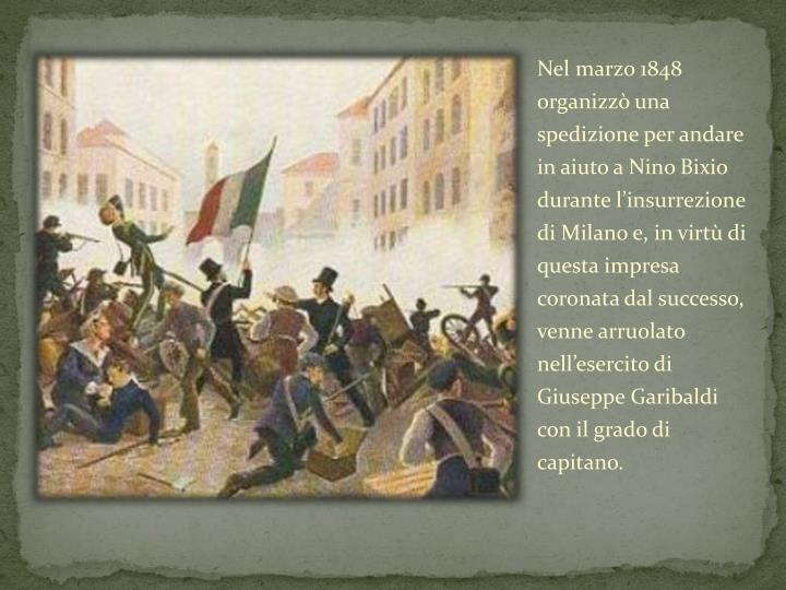 Nel marzo 1848 organizzò una spedizione per andare in aiuto a Nino
