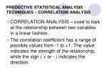 predective statistical analysis techniques correlation analysis