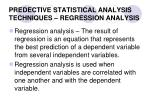 predective statistical analysis techniques regression analysis