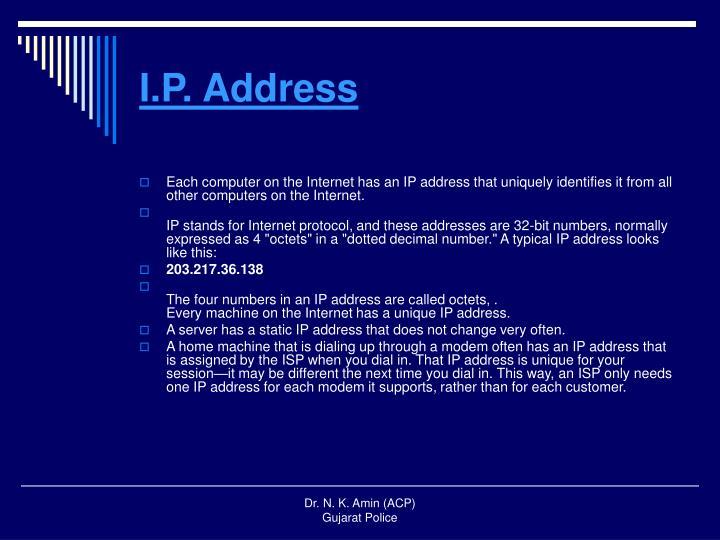 I.P. Address