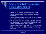 take a test before opening e mail attachment