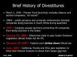 brief history of divestitures