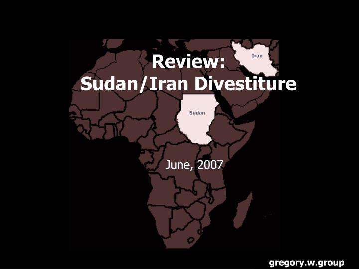 review sudan iran divestiture n.
