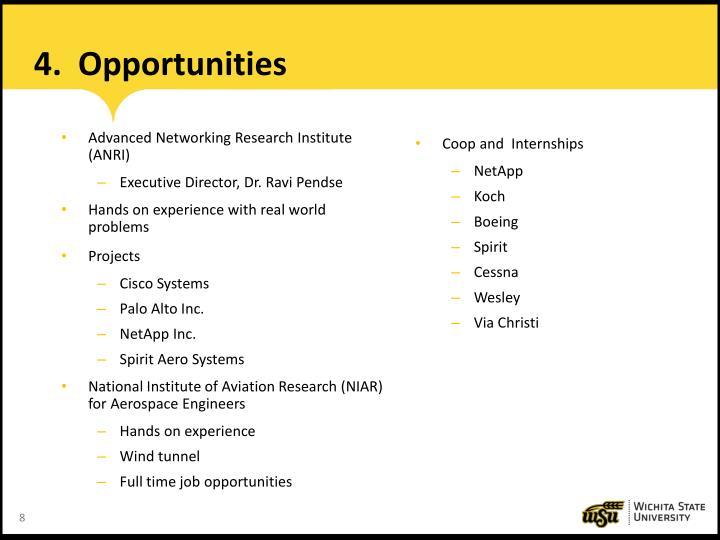 4.  Opportunities