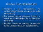 cr ticas a las plantaciones