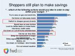 shoppers still plan to make savings