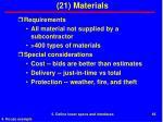 21 materials