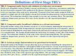 definitions of first stage trl s1