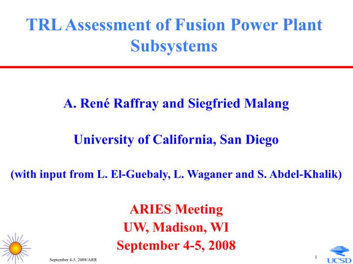 trl assessment of fusion power plant subsystems n.