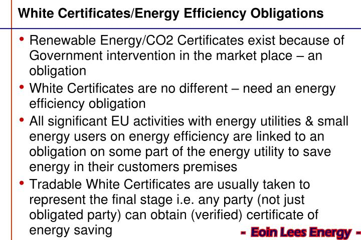 white certificates energy efficiency obligations n.