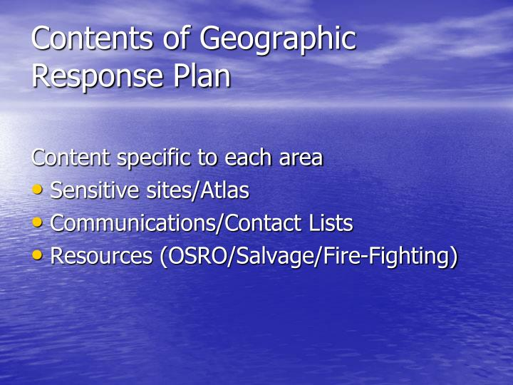 Contents of Geographic Response Plan