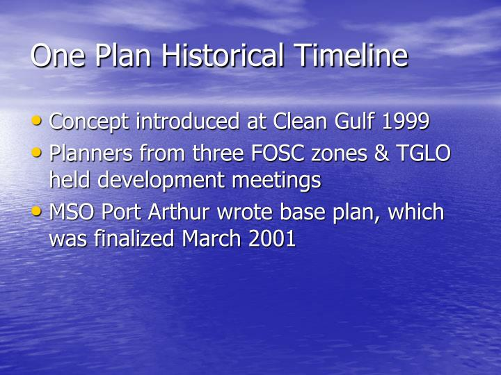 One Plan Historical Timeline