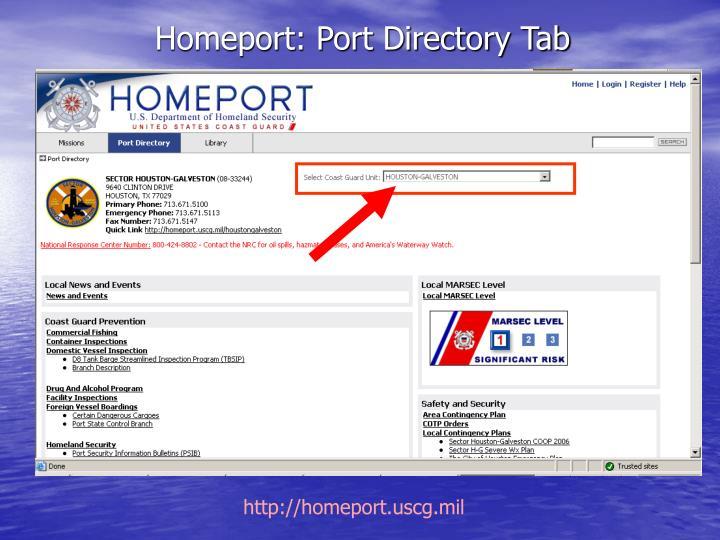 Homeport: Port Directory Tab