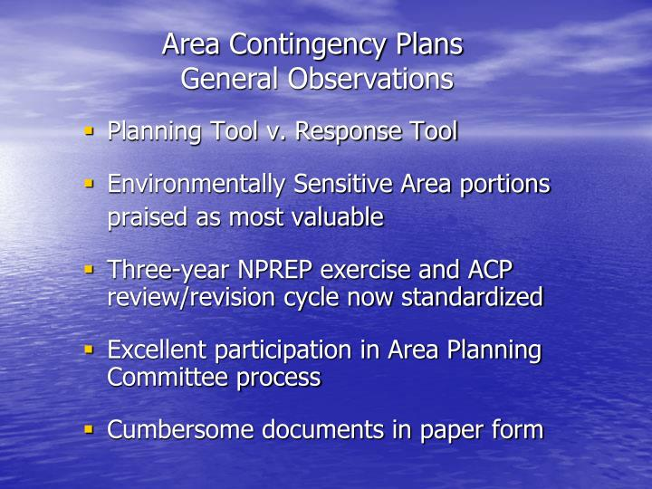 Area Contingency Plans