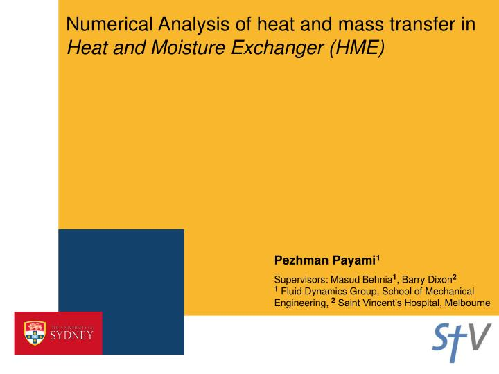 numerical analysis of heat and mass transfer in heat and moisture exchanger hme n.