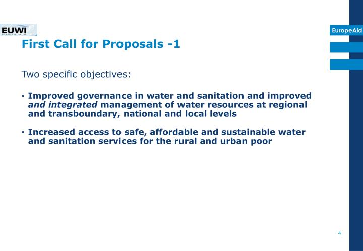 First Call for Proposals -1