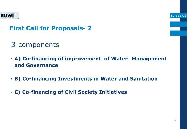 First Call for Proposals- 2