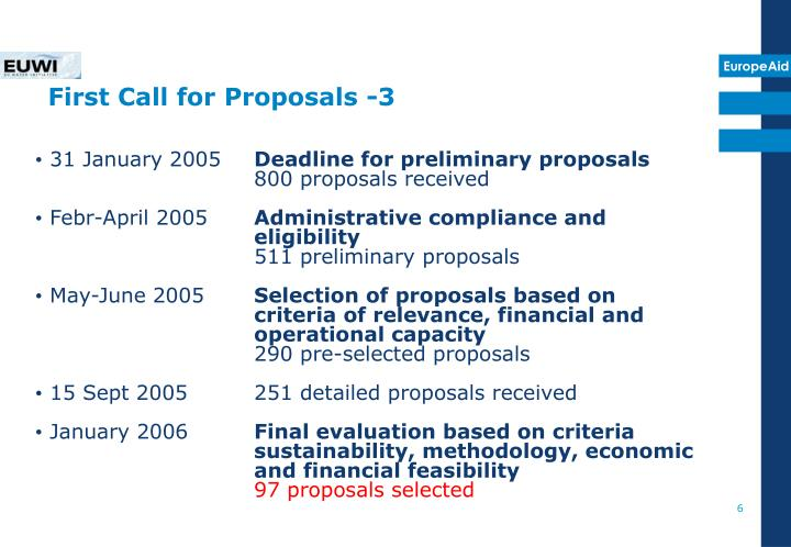 First Call for Proposals -3