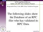 acta and part 68 review update of the rpc data validation program15