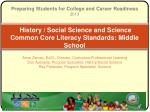 history social science and science common core literacy standards middle school