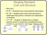 reading standard craft and structure