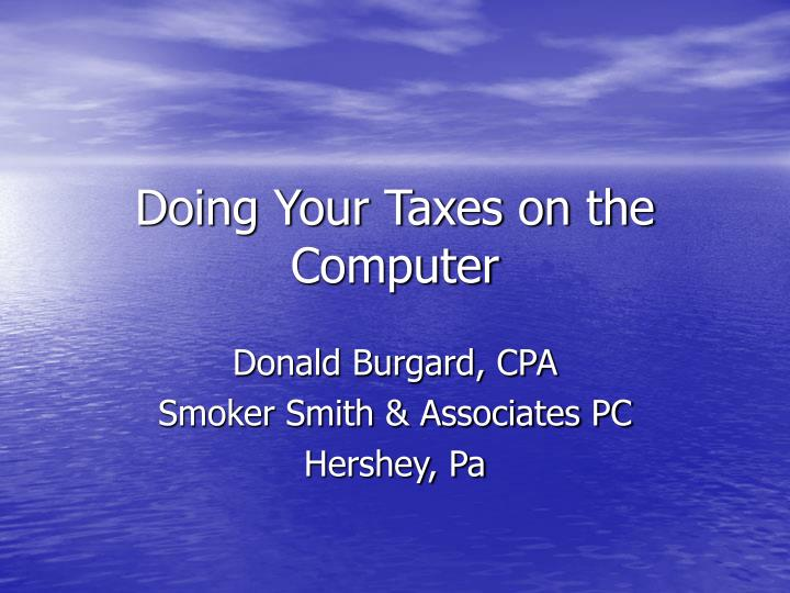 doing your taxes on the computer n.