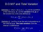 d o m f and total variation