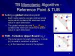 tb monotonic algorithm reference point tub
