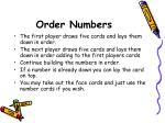 order numbers