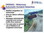 midas motorway automatic incident detection