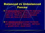 balanced vs unbalanced forces