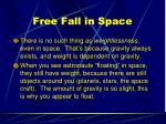 free fall in space