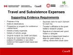 travel and subsistence expenses1