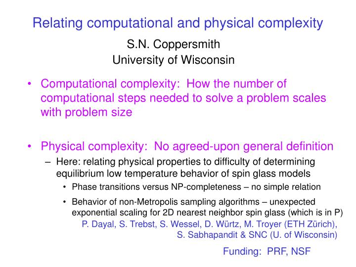 relating computational and physical complexity n.