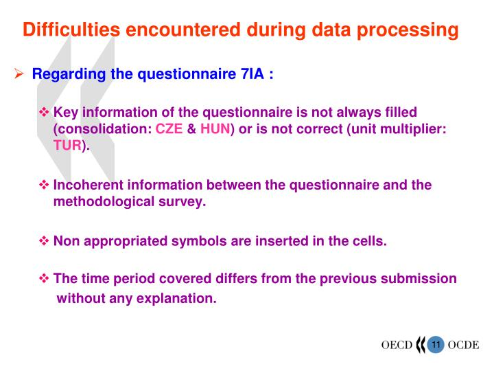 Difficulties encountered during data processing