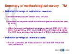 summary of methodological survey 7ia1