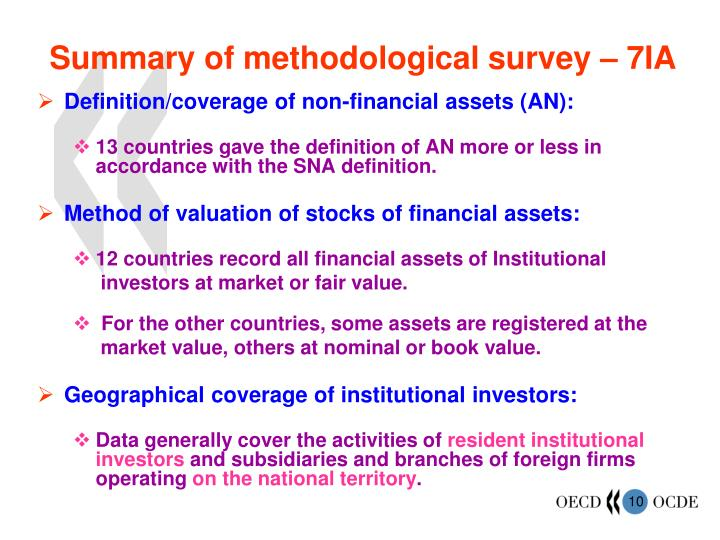 Summary of methodological survey – 7IA