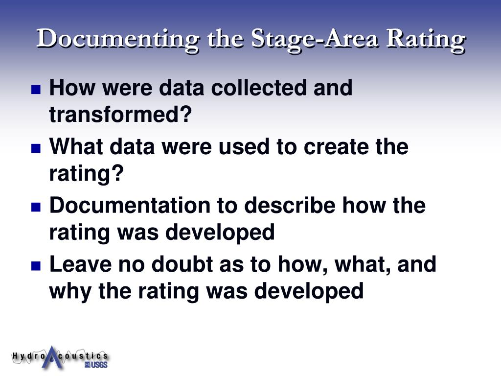Documenting the Stage-Area Rating