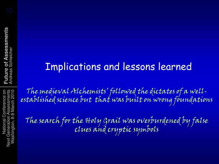 Implications and lessons learned