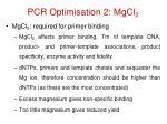 pcr optimisation 2 mgcl 2