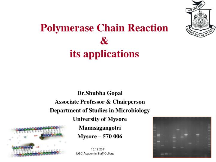 polymerase chain reaction its applications n.