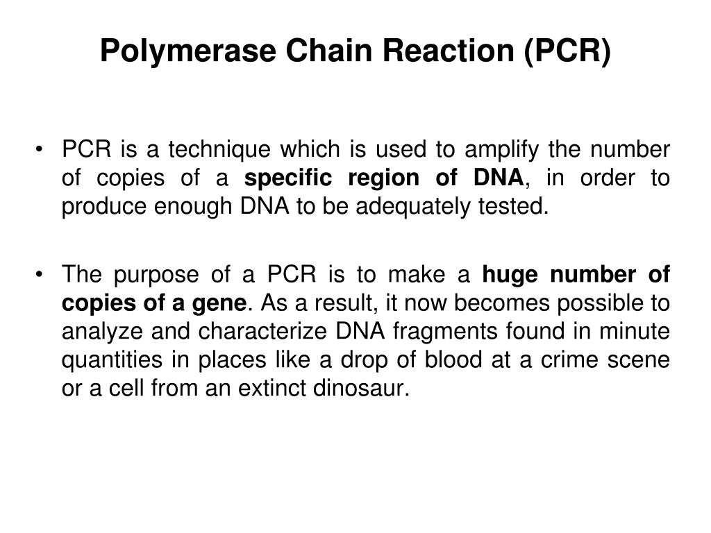 PPT - Polymerase Chain Reaction & its applications