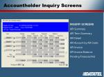 accountholder inquiry screens