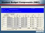 student budget components sbc