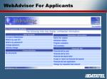 webadvisor for applicants