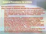 general procedures for a crisis