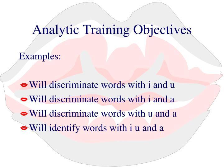 Analytic Training Objectives