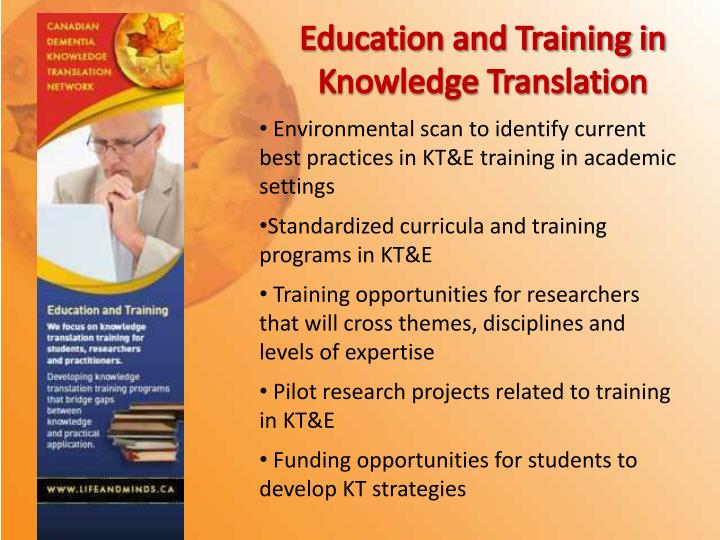 Education and Training in Knowledge Translation